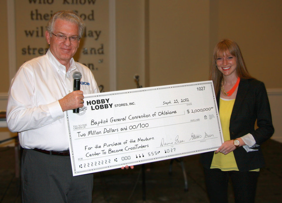Anthony L. Jordan, Baptist  General Convention of Oklahoma executive director-treasurer, receives a $2 million designated gift from Lauren (Green) McAfee of Hobby Lobby Inc. for the purchase of a children's camp near Davis.    <strong> - Provided</strong>