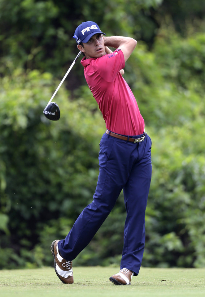 Billy Horschel tees off on the second hole during the final round of the PGA Zurich Classic golf tournament at TPC Louisiana in Avondale, La., Sunday, April 28, 2013. (AP Photo/Gerald Herbert)