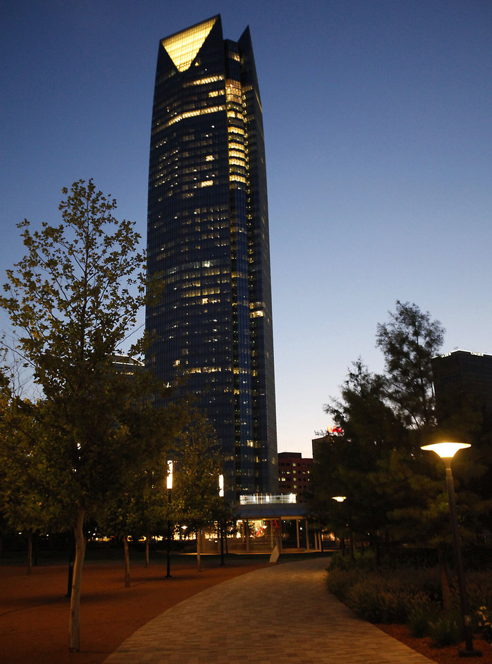 BUILDING EXTERIOR: Devon tower as seen from the Myriad Gardens, Friday, July 20 , 2012. Photo By David McDaniel/The Oklahoman <strong>David McDaniel - The Oklahoman</strong>