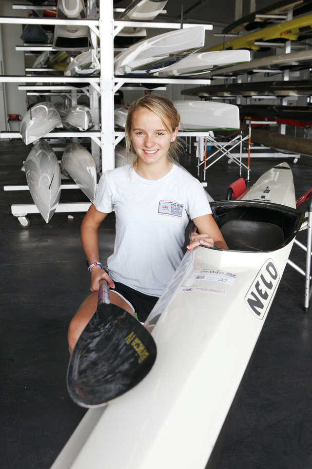 Oklahoma Riversport Junior Sprint Canoe/Kayak competitor Bria Cornforth, 12, at the Devon Boathouse on the Oklahoma River in Oklahoma City Wednesday, Sept. 26, 2012. Photo by Paul B. Southerland, The Oklahoman <strong>PAUL B. SOUTHERLAND - PAUL B. SOUTHERLAND</strong>