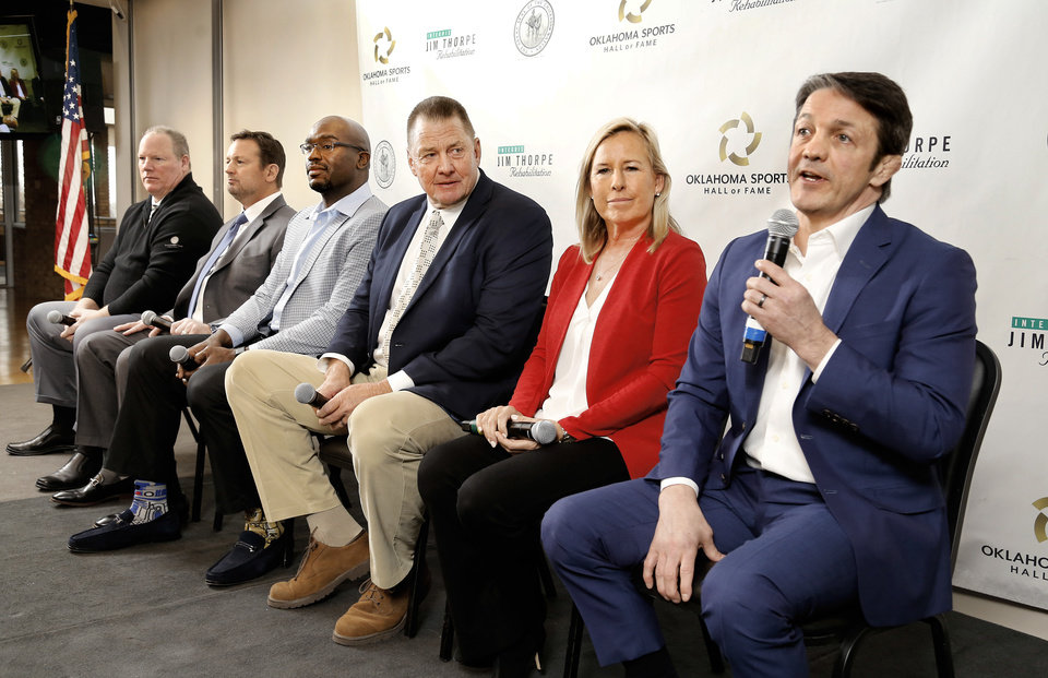 Photo - The Oklahoma Sports Hall of Fame Induction Class of 2019 was introduced Tuesday, Feb. 19, 2019, at the organization's leadership luncheon at the Jeaneen and Bob Naifeh Family & Bud Wilkinson Event Center.  From left are Mickey Tettleton, Bob Stoops, Will Shields, Mike Moore, Patty Gasso and Kendall Cross. Inductee Lou Henson was unable to be present at the luncheon. Photo by Jim Beckel, The Oklahoman.