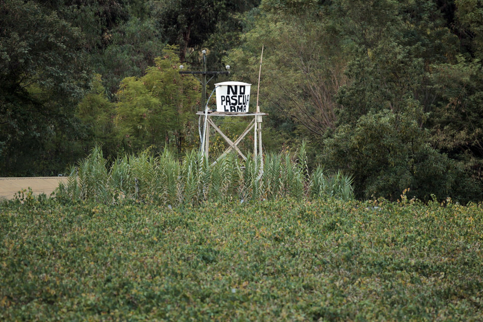 Photo - In this May 23, 2013 photo, a water tank displays a message that reads;