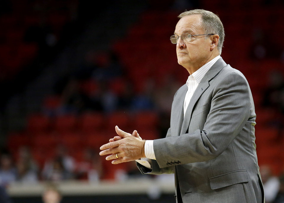 Photo - Oklahoma head basketball coach Lon Kruger reacts to a play during the college basketball game between the University of Oklahoma and the UTSA Roadrunners at the Lloyd Noble Center in Norman, Okla.,  Tuesday, Nov. 5, 2019.  [Sarah Phipps/The Oklahoman]
