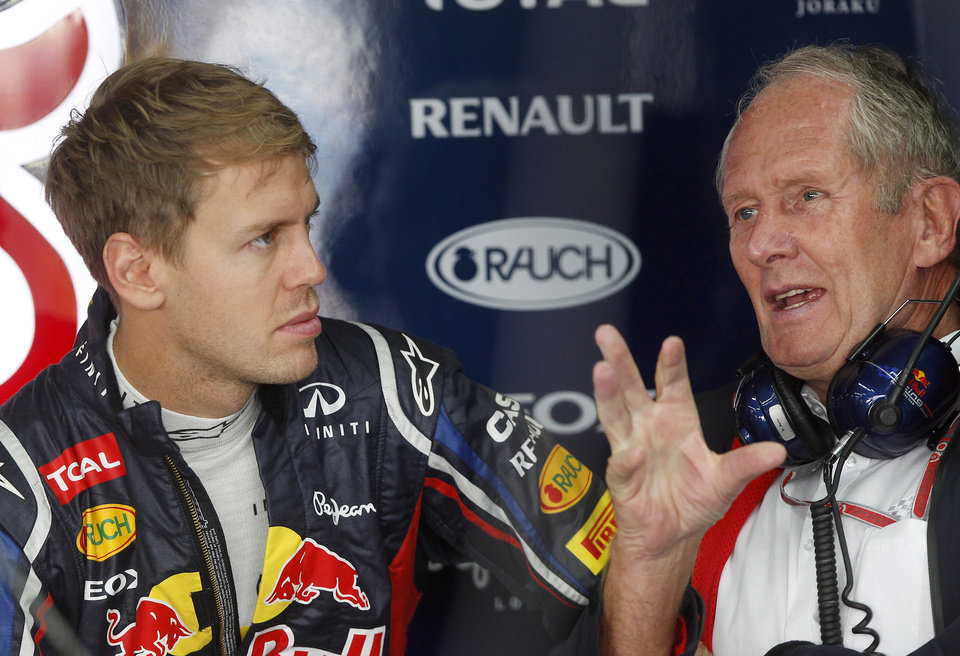 Photo -   Red Bull driver Sebastian Vettel of Germany chats with Austrian Helmut Marko, right, during the first practice session for the Korean Formula One Grand Prix at the Korean International Circuit in Yeongam, South Korea, Friday, Oct. 12, 2012. (AP Photo/Greg Baker)