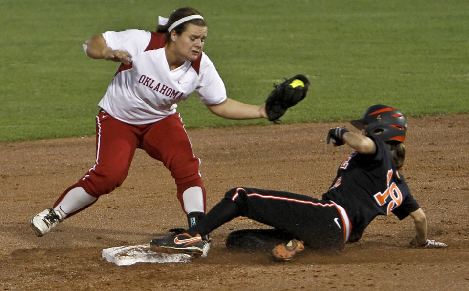 OU / OSU / COLLEGE SOFTBALL: Oklahoma's Georgia Casey (42) gets an out on Oklahoma State's Kelsey Anchors (19) during the Bedlam softball game between the University of Oklahoma Sooners and the Oklahoma State University Cowgirls at ASA Hall of Fame Stadium on Wednesday, March 28 2012, in Oklahoma City, Oklahoma.  Photo by Chris Landsberger, The Oklahoman