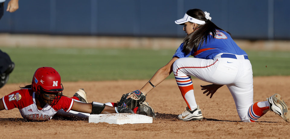 Nebraska's Kiki Stokes slide past Florida's Kayie Medina at second base in the fourth inning of their Women's College World Series softball game at ASA Hall of Fame Stadium in Oklahoma City, Saturday, June, 1, 2013. Photo by Bryan Terry, The Oklahoman