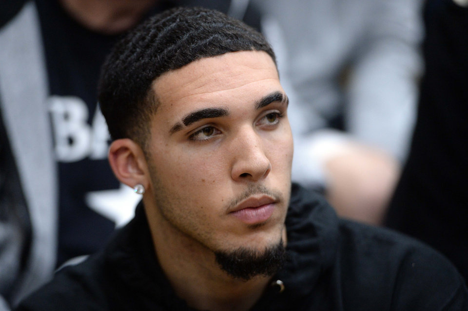 Photo - Dec 7, 2018; Scottsdale, AZ, USA; LiAngelo Ball attends the game between Spire Institute and Bella Vista Prep at Chaparral High School. Mandatory Credit: Joe Camporeale-USA TODAY Sports
