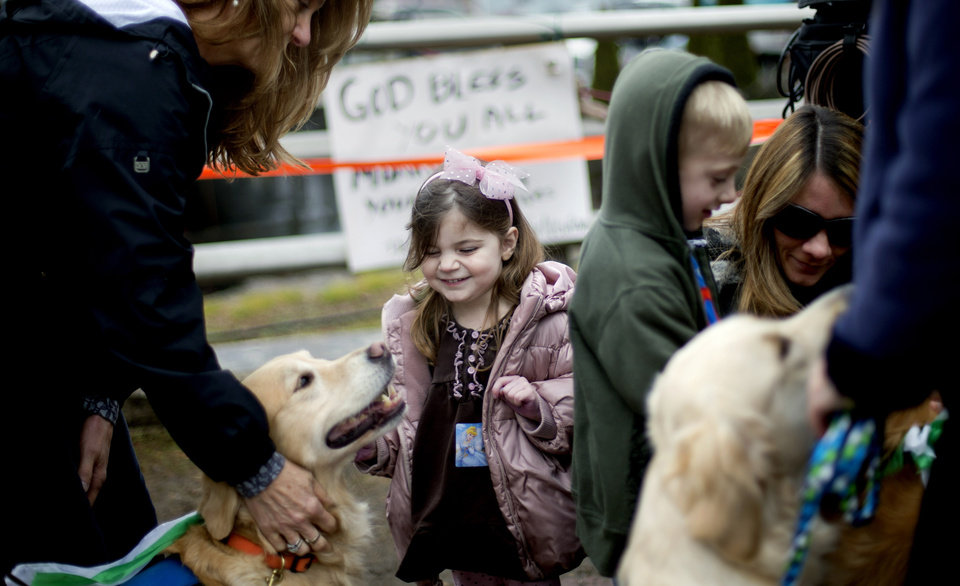 Lily Willinger, 2, of Newtown Conn., pets Libby, a golden retriever therapy dog, during a visit from the dogs and their handlers to a memorial for the Sandy Hook Elementary School shooting victims, Tuesday, Dec. 18, 2012, in Newtown, Conn. (AP Photo/David Goldman) ORG XMIT: CTDG105
