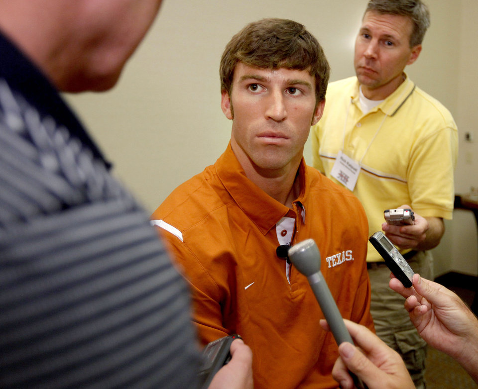 Texas wide receiver Jordan Shipley talks to the media at the Big 12 football media days Wednesday in Irving, Texas. (Photo by Bryan Terry, The Oklahoman)