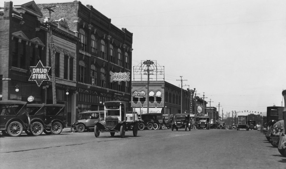 "STREET SCENES:  ""Bartlesville, Okla. - Street Scenes.""  Original dated from the year 1917."