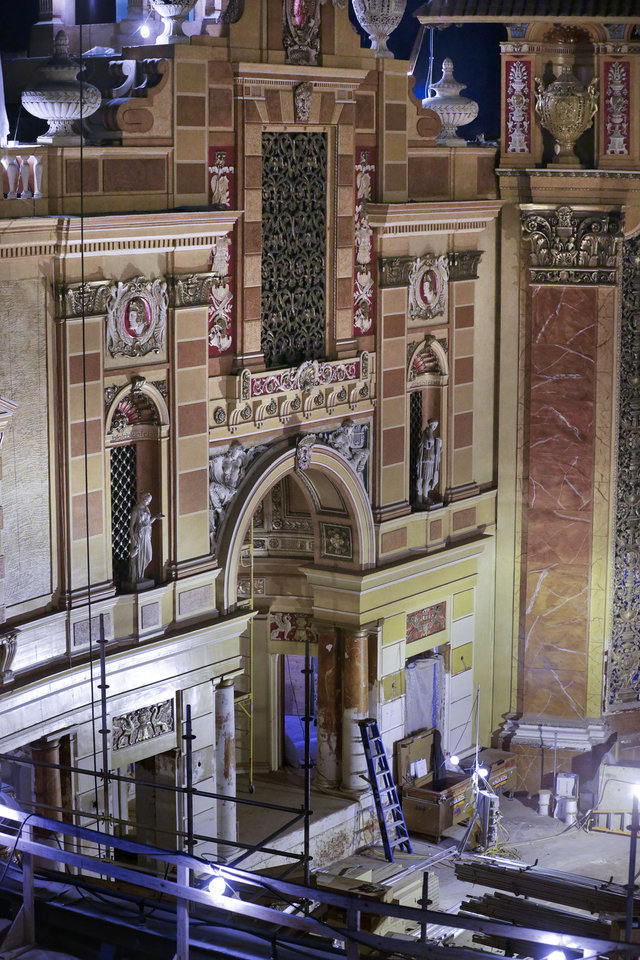 Photo - A recently restored wall is seen during the renovation of the Saenger Theater in Downtown New Orleans on Wednesday, May 22, 2013. (AP Photo/Gerald Herbert)