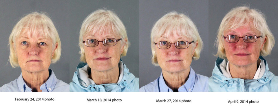 Photo - This combination of four 2014 booking photos released by the San Mateo County Sheriff's Office shows Marilyn Hartman. Federal law enforcement officials say Hartman tried at least three times to breach airport security before she was able to get through a checkpoint without a boarding pass at Mineta San Jose International Airport on Monday, Aug. 4, 2014. (AP Photo/San Mateo County Sheriff's Office)
