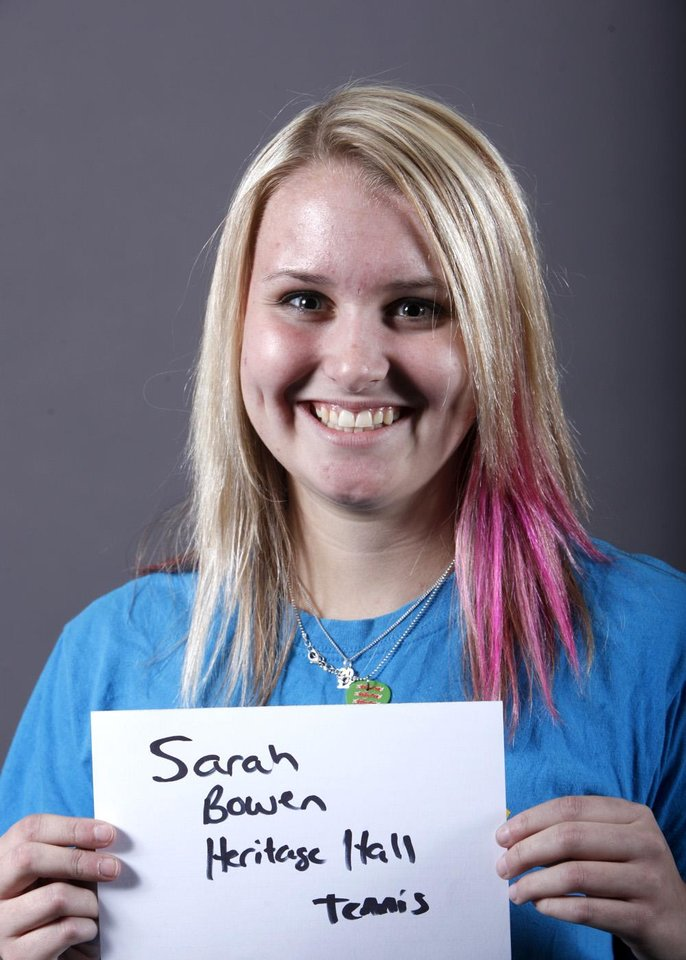 Photo - Sarah Bowen, Heritage Hall tennis, poses for a mug during the spring high school sports photo day at the Oklahoman in Oklahoma City, Wednesday, Feb. 16 , 2010.  Photo by Sarah Phipps, The Oklahoman.  ORG XMIT: KOD