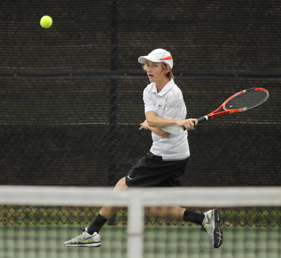 Photo - Conner Finerly, of Muskogee, competes in 6A Boys Singles during the 2012 OSSAA Boys High School State Tennis Tournament at the OKC Tennis Center at Will Rogers Park in Oklahoma City, Saturday, May 12, 2012.  Photo by Garett Fisbeck, For The Oklahoman