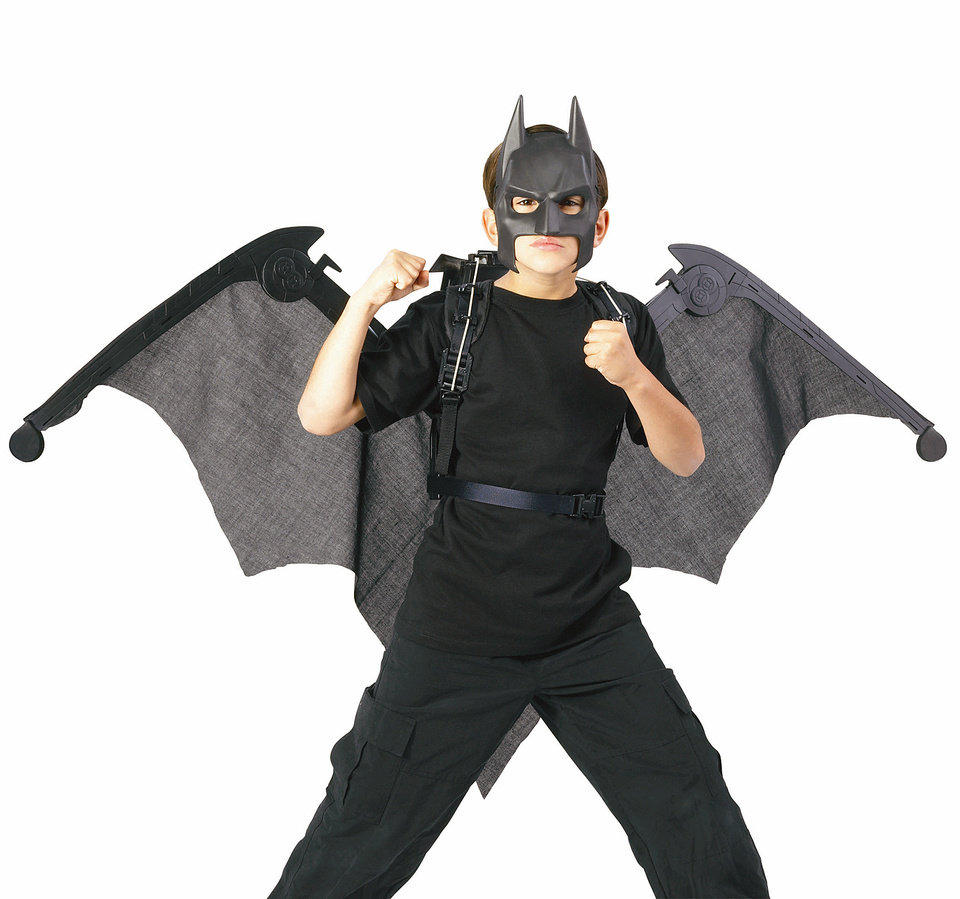 Batman: The Dark Knight Mega Cape: The cape can rapidly expand to a 5-foot wingspan or retract into a convenient back harness for run-around play.PHOTO PROVIDED