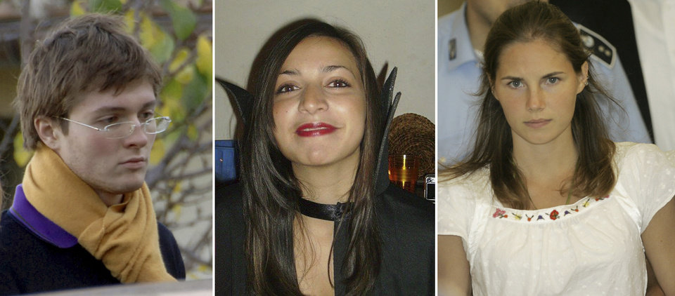 Photo - FILE PHOTOS COMBO - File photos combo shows, from left; Italian student Raffaele Sollecito, slain 21-year-old British woman Meredith Kercher, her American roommate Amanda Knox. Few international criminal cases have cleaved along national biases as that of American student Amanda Knox, awaiting half world away her third Italian court verdict in the 2007 slaying of her British roommate, 21-year-old Meredith Kercher. Whatever is decided this week, the protracted legal battle that has grabbed global headlines and polarized trial-watchers in three nations probably won't end in Florence. With the first two trials producing flip-flop guilty-then-innocent verdicts against Knox and her former Italian boyfriend, Raffaele Sollecito, the case has produced harshly clashing versions of events. A Florence appeals panel designated by Italy's supreme court to address errors in the appeals acquittal is set to deliberate Thursday, Jan. 30, 2014, with a verdict expected later in the day. (AP Photo/files)
