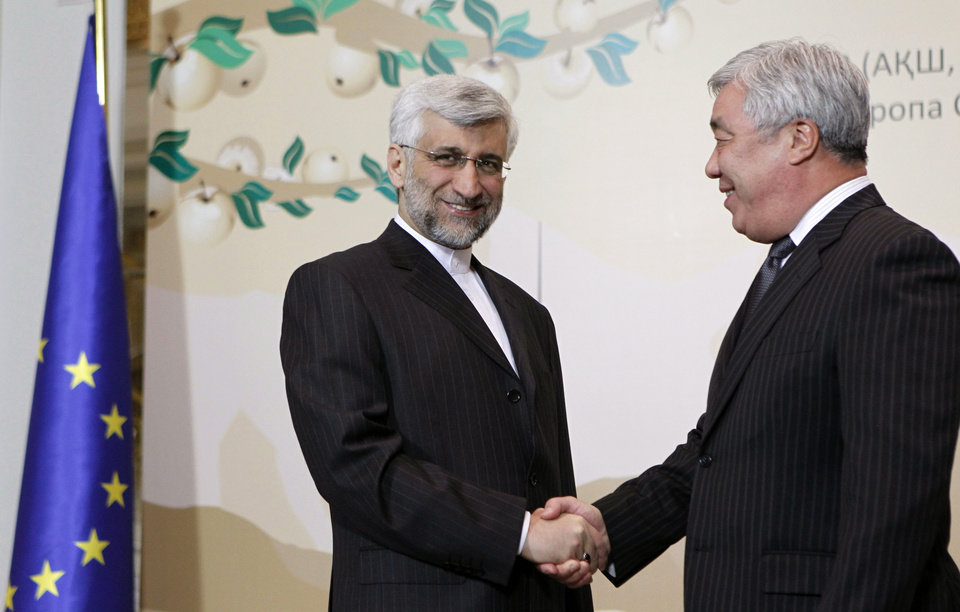 Saeed Jalili, secretary of Iran's Supreme National Security Council, left, shakes hands with Kazakhstan\'s Foreign Minister Yerlan Idrisov in Almaty, largest Kazakhstan\'s city on Friday, April 5, 2013 at a start of high-level talks between world powers and Iranian officials. (AP Photo/ Shamil Zhumatov, Pool)