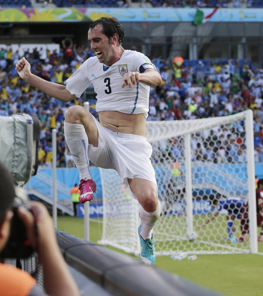 Photo - Uruguay's Diego Godin jumps over a barricade after scoring his side's first goal during the group D World Cup soccer match between Italy and Uruguay at the Arena das Dunas in Natal, Brazil, Tuesday, June 24, 2014. (AP Photo/Petr David Josek)