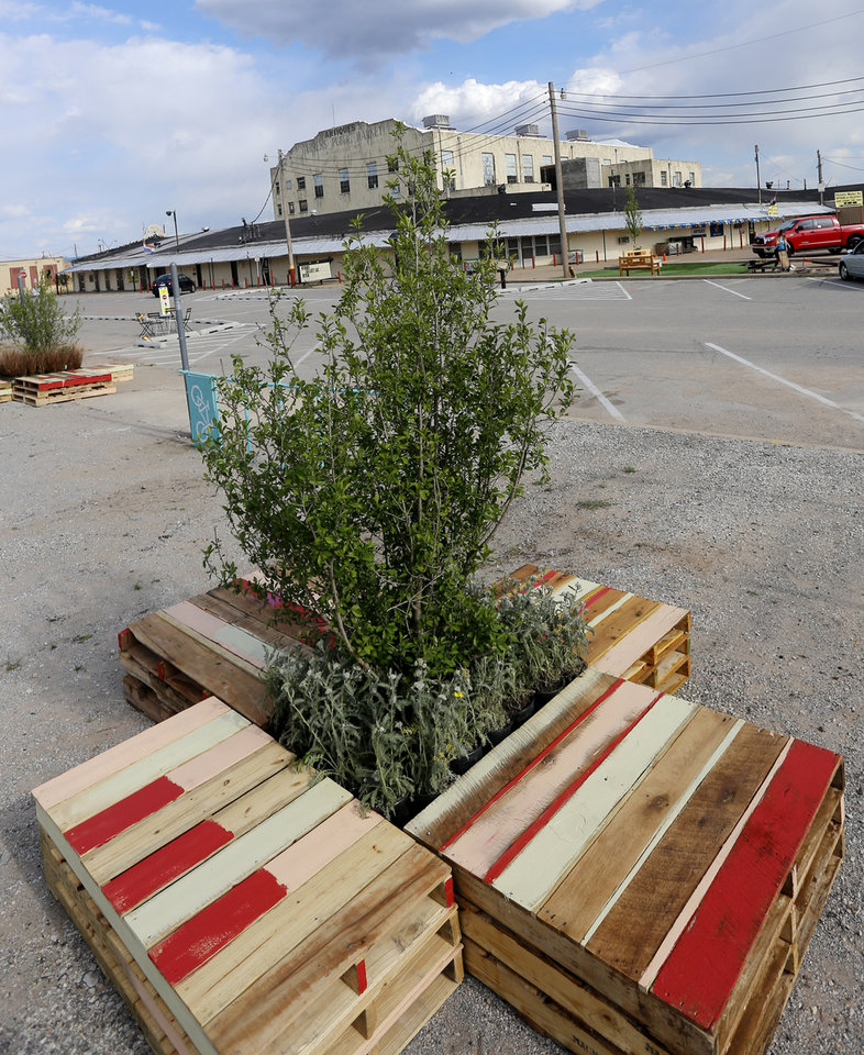Tree and plants with pallets for border set up for Saturday's Better Block Party in the Farmer's Market District Friday, May 2, 2013. Photo by Doug Hoke, The Oklahoman