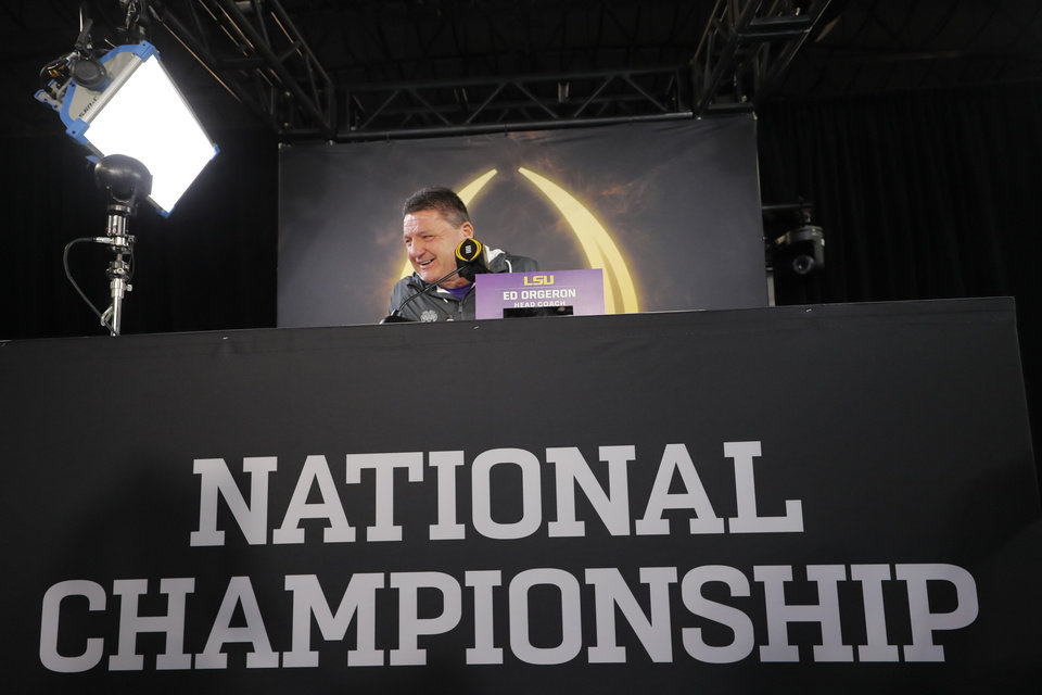 Photo - LSU head coach Ed Orgeron speaks during media day for NCAA College Football Playoff national championship game Saturday, Jan. 11, 2020, in New Orleans. Clemson is scheduled to play LSU on Monday. (AP Photo/Gerald Herbert).