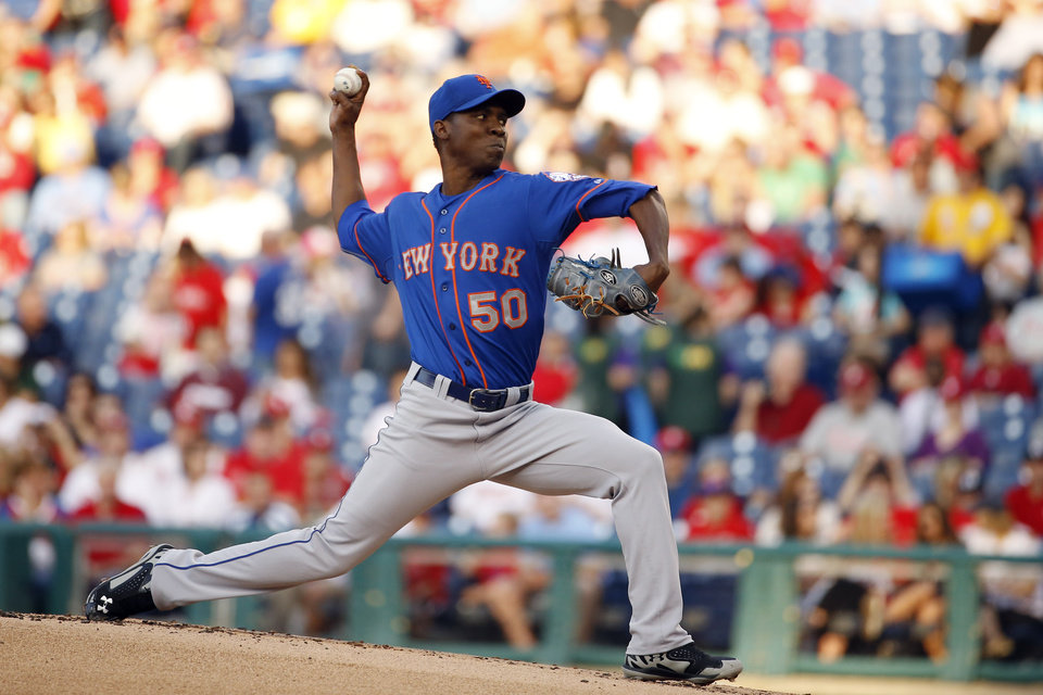 Photo - New York Mets' Rafael Montero pitches during the first inning of a baseball game against the Philadelphia Phillies, Friday, May 30, 2014, in Philadelphia. (AP Photo/Matt Slocum)