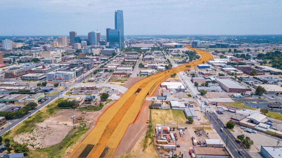 Photo -  This photo illustration shows Oklahoma City Boulevard looking east, with Reno and Western avenues in the foreground. [DAVE MORRIS, TODD PENDLETON/THE OKLAHOMAN GRAPHICS]
