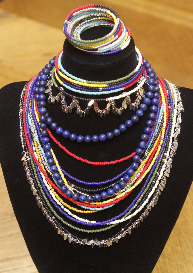 Bright colored jewelry will be auctioned off at the Edmond Fine Arts Institute's Spring Sampler Evening of Art on Saturday. PHOTO BY PAUL HELLSTERN, THE OKLAHOMAN. <strong>PAUL HELLSTERN - THE OKLAHOMAN</strong>