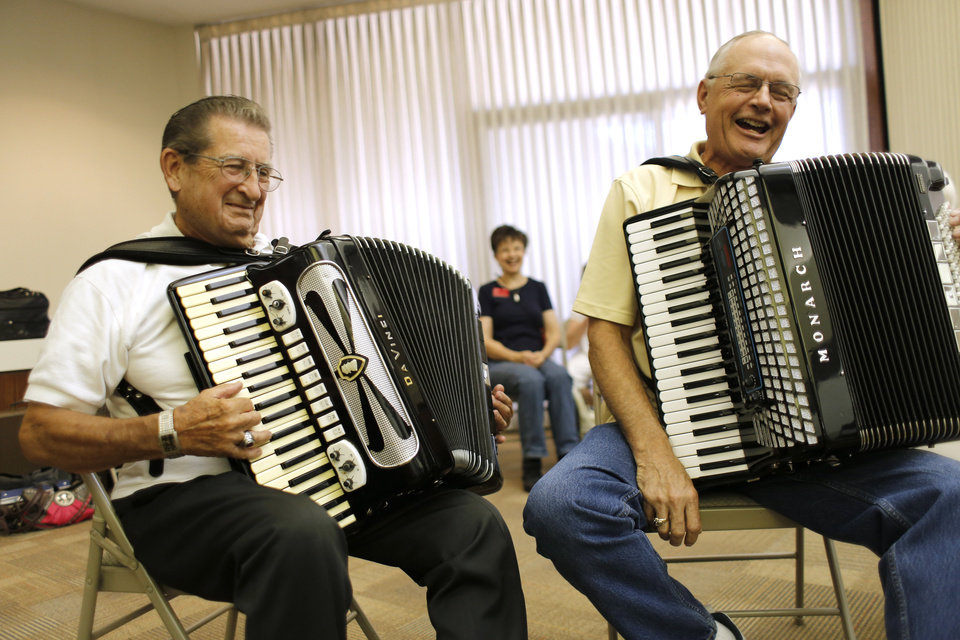 Photo -  Dick Albreski and John Buchanan play their accordions. Photo by Doug Hoke, The Oklahoman   DOUG HOKE