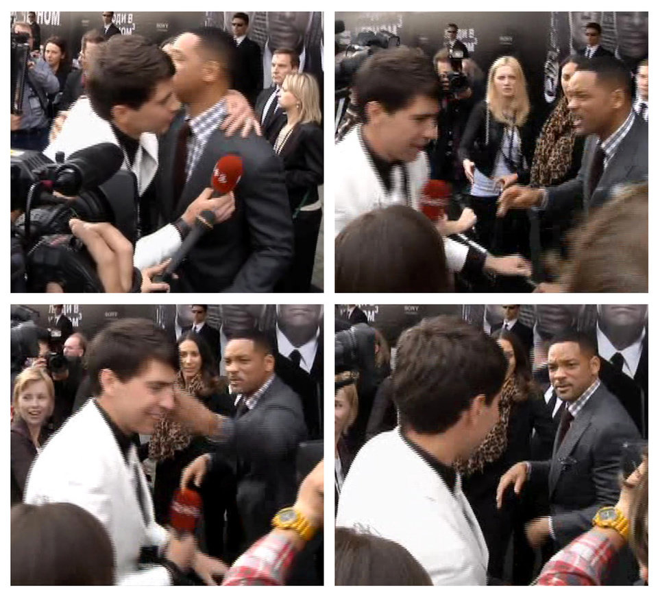 Photo -   In this photo combo from video images taken from AP video, top left image, U.S. actor Will Smith, center right, is embraced by reporter Vitalii Sediuk, white suit, from the Ukrainian television channel 1+1, on the red carpet before the premiere of
