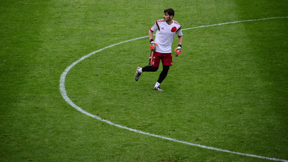 Photo - Spain's goalkeeper Iker Casillas attends a training session at the Atletico Paranaense training center in Curitiba, Brazil, Tuesday, June 10, 2014. Spain will play in group B of the Brazil 2014 World Cup. (AP Photo/Manu Fernandez)