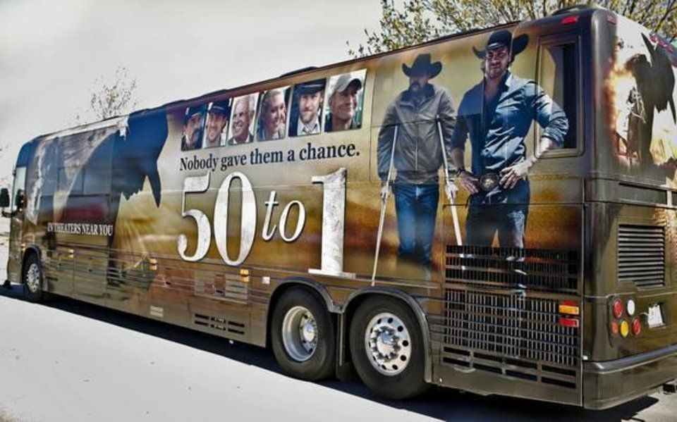 """Photo -  Director, producer, co-writer Jim Wilson, actor Jamie McShane and co-writer Faith Conroy for the movie """"50 to 1"""" pose for a photo in Oklahoma City, Okla. on Tuesday, April 8, 2014. The trio is on a bus tour to promote the April 11 Oklahoma opening of the movie. Photo by Chris Landsberger, The Oklahoman"""