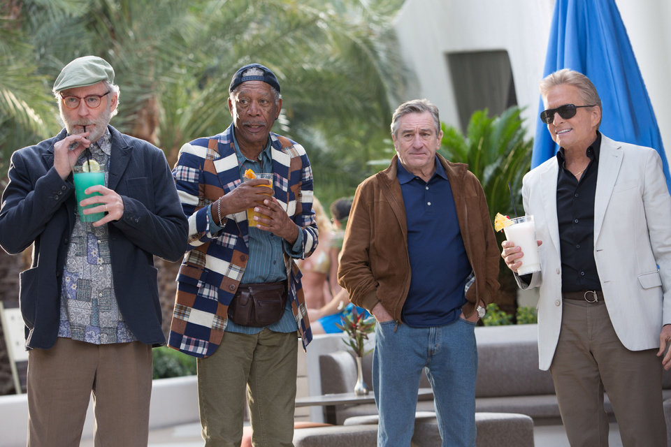 "From left, Kevin Kline, Morgan Freeman, Robert De Niro and Michael Douglas in ""Last Vegas."" CBS FILMS PHOTO <strong></strong>"