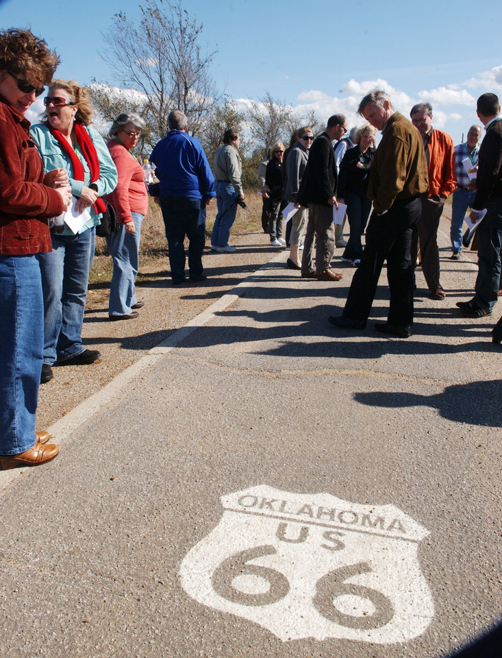 National Preservation Conference in Tulsa this week had a tour of Route 66 and stopped at the last section of the original 9 foot wide Ribbon Road west of Miami Thursday, Oct. 23, 2008, afternoon.  BY GARY CROW, FOR THE OKLAHOMAN