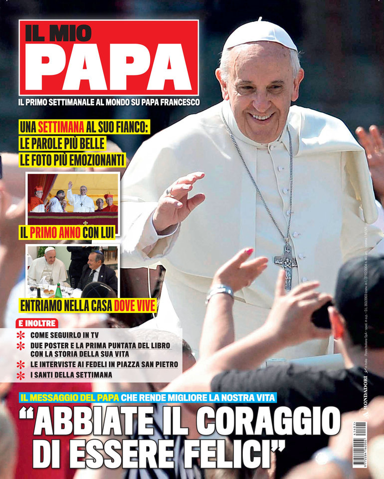 Photo - This image provided by Mondadori press office Tuesday, March 4, 2014 shows the cover  of the new magazine 'Il Mio Papa', My Pope, titled