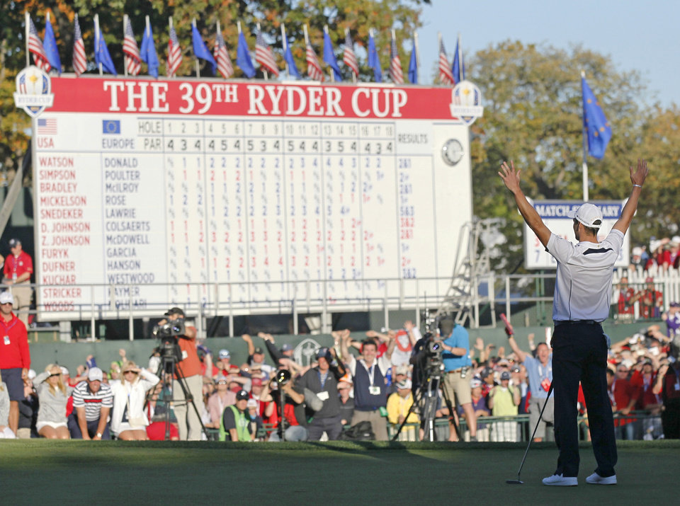 Photo - Europe's Martin Kaymer celebrates after winning the Ryder Cup PGA golf tournament Sunday, Sept. 30, 2012, at the Medinah Country Club in Medinah, Ill. (AP Photo/Charles Rex Arbogast)  ORG XMIT: PGA201
