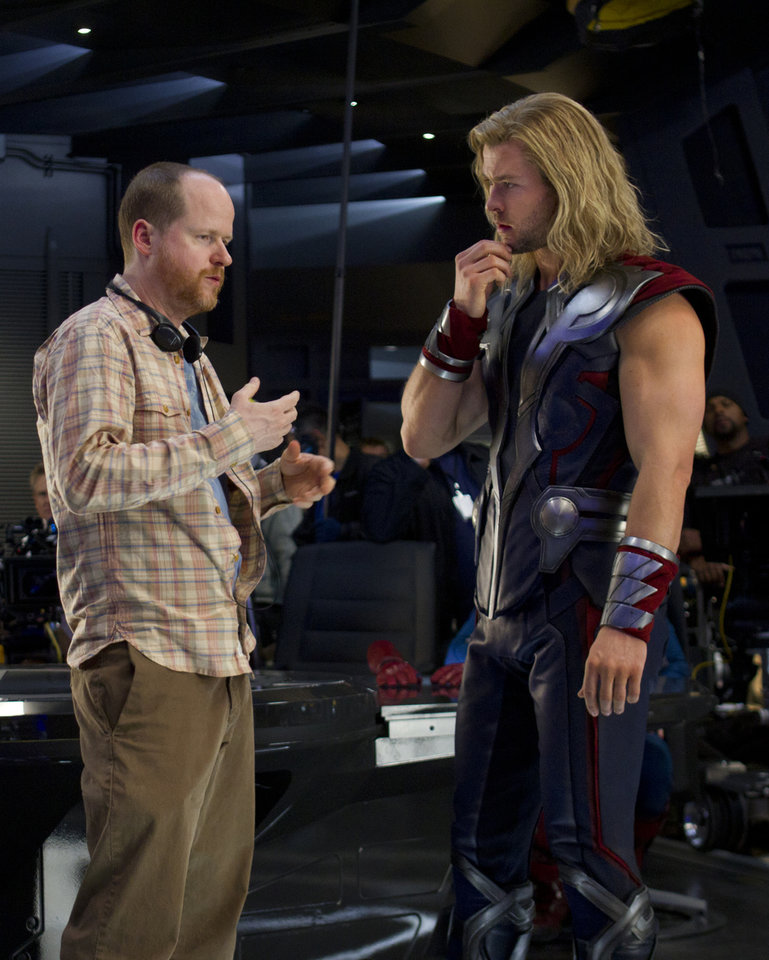 �Marvel's The Avengers�   Director Joss Whedon and Chris Hemsworth (Thor) on the set of MARVEL'S THE AVENGERS.  Ph: Zade Rosenthal    © 2011 MVLFFLLC.  TM & © 2011 Marvel.  All Rights Reserved.