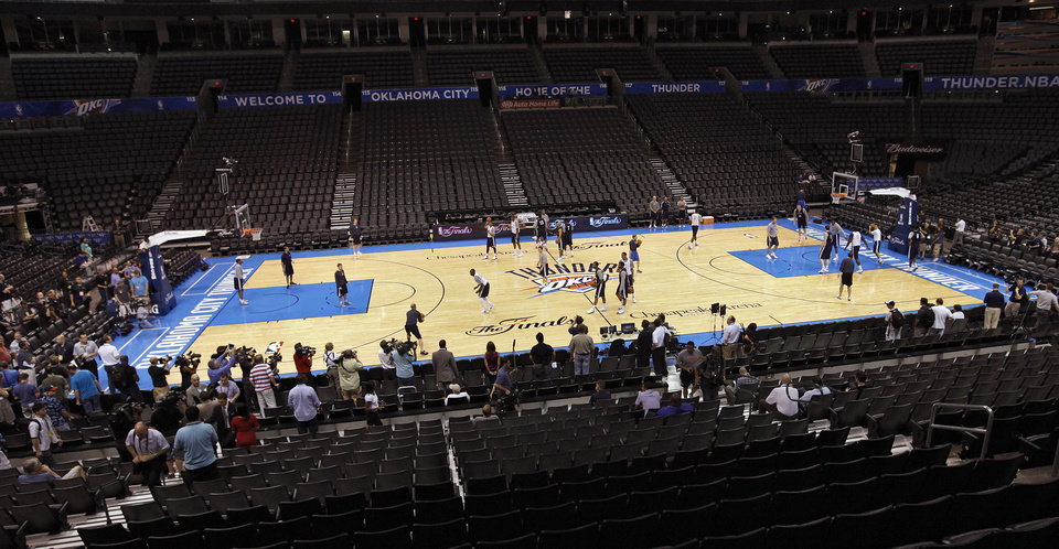 Photo - The Oklahoma City Thunder take to the court during the NBA Finals practice day at the Chesapeake Energy Arena on Monday, June 11, 2012, in Oklahoma City, Okla. Photo by Chris Landsberger, The Oklahoman