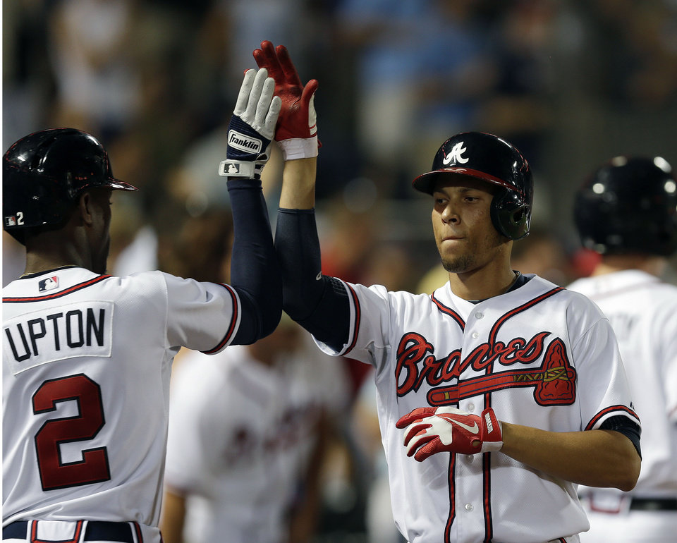 Photo - Atlanta Braves' Andrelton Simmons, right, celebrates with B.J. Upton after Simmons hit a two-run home run in the seventh inning of a baseball game against the New York Mets on Tuesday, Sept. 3, 2013, in Atlanta. (AP Photo/John Bazemore)