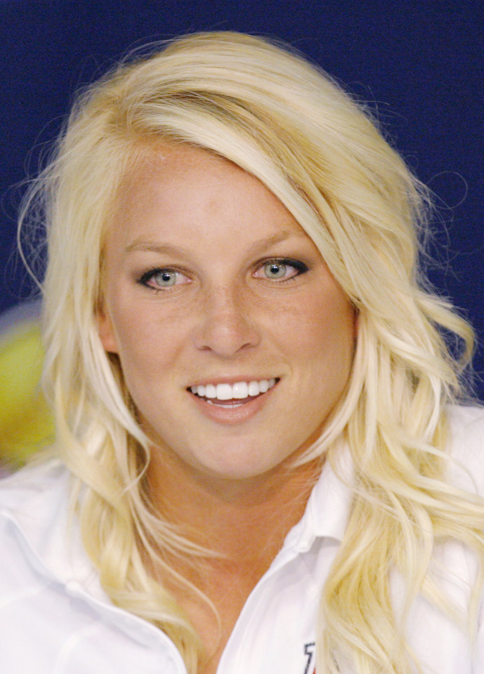 UNIVERSITY OF ARIZONA, COLLEGE SOFTBALL: Arizona\'s Taryne Mowatt during a press conference for the Women\'s College World Series softball games at ASA Hall of Fame Stadium in Oklahoma City, Wednesday, May 28, 2008. BY NATE BILLINGS, THE OKLAHOMAN ORG XMIT: KOD