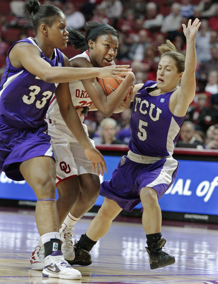 Oklahoma Sooners' DaShawn Harden (22) tries to drive between Briesha Wynn (33) and Meagan Henson in the second half as the University of Oklahoma (OU) Sooners defeated the Texas Christian University (TCU) Horned Frogs 82-54 in women's college basketball at the Lloyd Noble Center on Wednesday, Dec. 28, 2011, in Norman, Okla.  