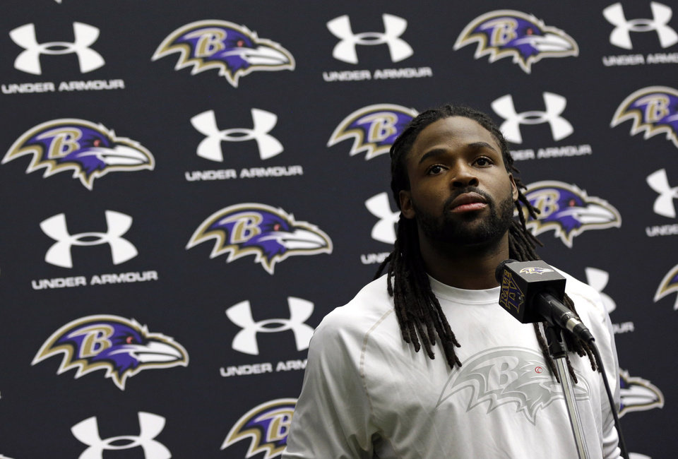 Photo - Baltimore Ravens wide receiver Torrey Smith speaks at a news conference at the team's practice facility in Owings Mills, Md., Monday, Jan. 14, 2013. The Ravens are scheduled to face the New England Patriots in the AFC Championship on Sunday. (AP Photo/Patrick Semansky)