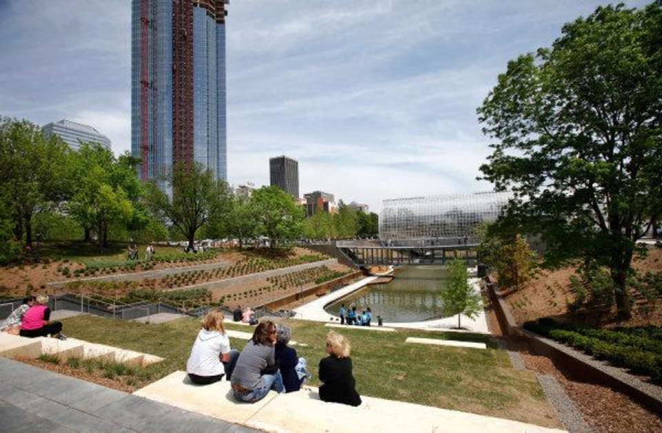 Visitors enjoy a view of the refurbished Myriad Botanical Gardens on opening day of the 2011 Festival of the Arts. JIM BECKEL - THE OKLAHOMAN