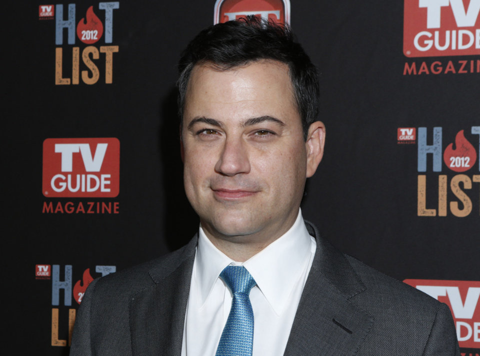 FILE - This Nov. 12, 2012 file photo shows Jimmy Kimmel at the TV Guide Magazine's 2012 Hot List Party at Skybar at the Mondrian Hotel  in West Hollywood, Calif. Kimmel went head-to-head Tuesday, Jan. 8, 2013, for the first time against CBS� �Late Show with David Letterman� and NBC�s �Tonight Show with Jay Leno.� According to Nielsen fast national ratings, Kimmel edged out Letterman and ran slightly behind Leno in total viewers.   (Photo by Todd Williamson/Invision/AP, file)