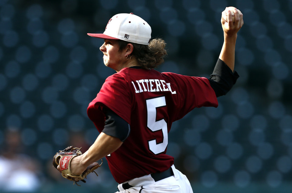 Photo - Tuttle's Connor Litterell throws a pitch during the class 4A state baseball championship game between Tuttle and Dewey at the Chickasaw Bricktown Ballpark in Oklahoma City, Saturday, May 17, 2014. Photo by Sarah Phipps, The Oklahoman