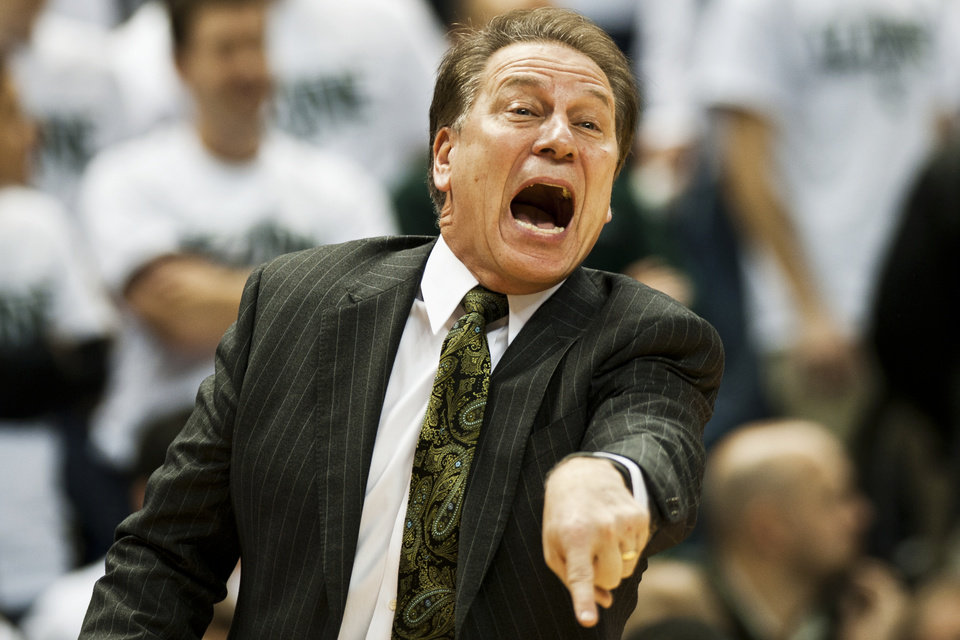Michigan State coach Tom Izzo yells out to his players during an NCAA college basketball game against Texas on Saturday, Dec. 22, 2012, in East Lansing, Mich. (AP Photo/Jackson Citizen Patriot, Mike Mulholland) LOCAL TV OUT  LOCAL INTERNET OUT
