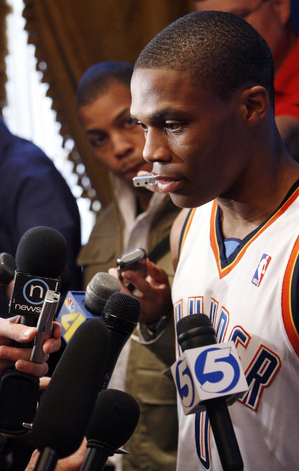 Photo - Russell Westbrook answers questions during media day for the Oklahoma City Thunder NBA basketball team at the Skirvin Hilton hotel in Oklahoma City, Monday, September 29, 2008. BY NATE BILLINGS, THE OKLAHOMAN. ORG XMIT: KOD