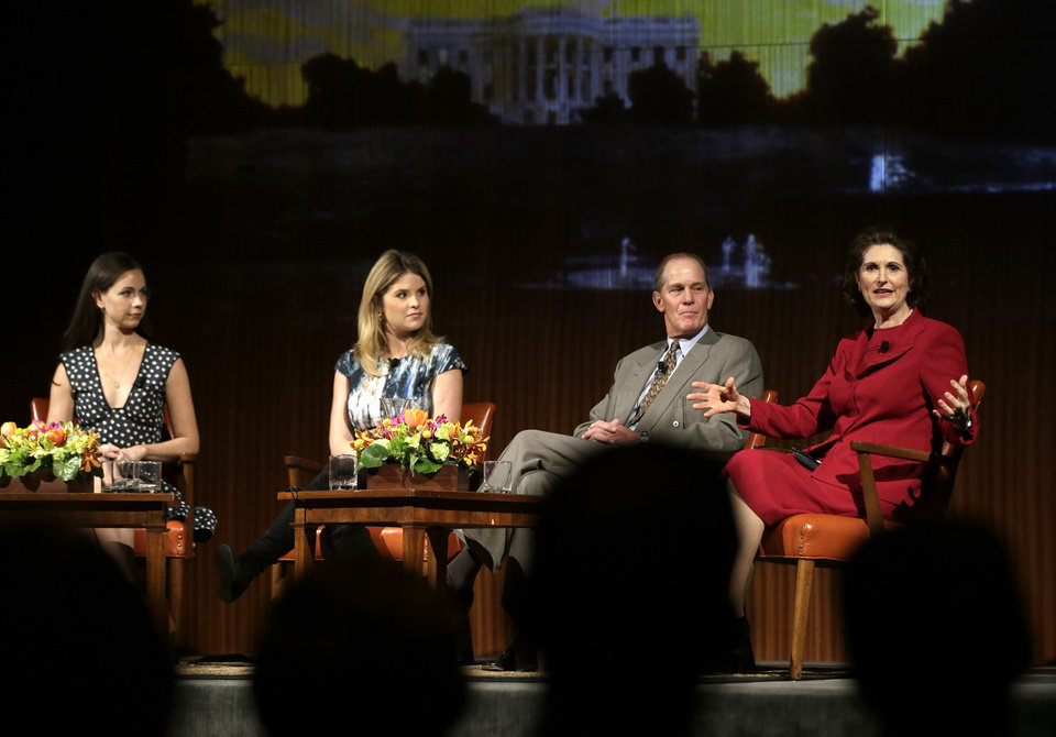Lynda Johnson Robb, right, speaks during the Enduring Legacies of America's First Ladies conference as she is joined on stage by, from left to right, Barbara Pierce Bush, Jenna Bush Hager and Steve Ford, Thursday, Nov. 15, 2012, in Austin, Texas. The children of three presidents discussed life in the White House as part of a conference on first ladies at the Lyndon B. Johnson Presidential Library. (AP Photo/David J. Phillip)