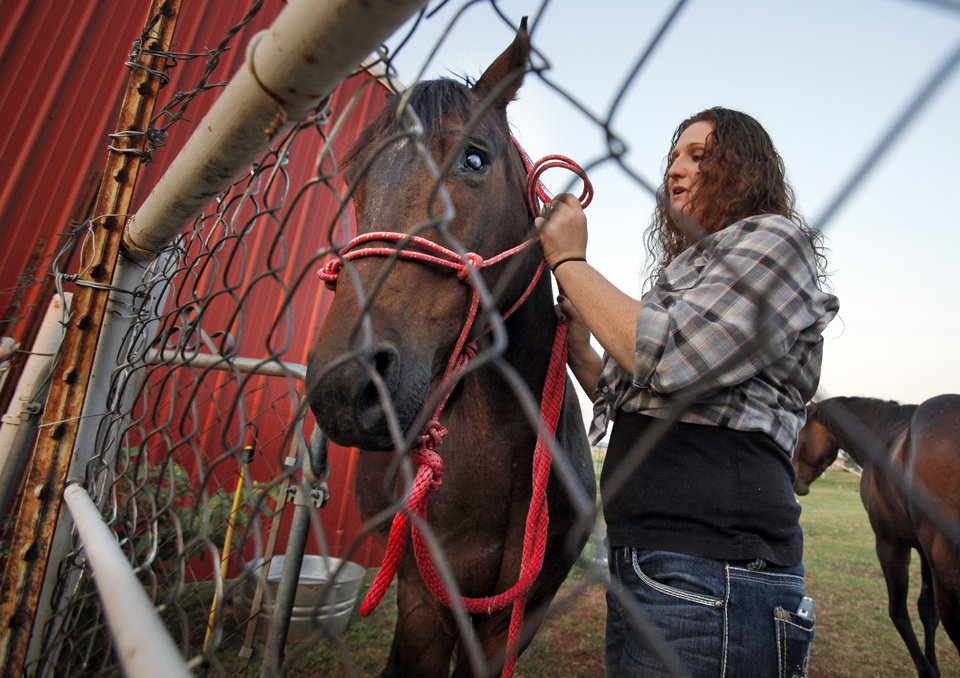 Maeghan Hadley prepares to work with rescue horse Jessie on her ranch on Thursday, June 28, 2012, in Purcell, Okla.  Photo by Steve Sisney, The Oklahoman