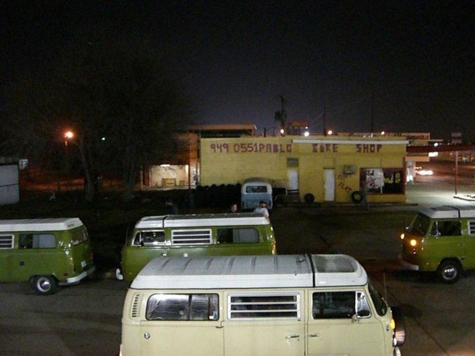 """Photo taken by artist Matt Josef in Oklahoma City in 2007 when Matt painted """"The Croc"""" a broken-down Volkswagen van in the Paseo district. The van is now in a new documentary called """"Circle the Wagen."""""""