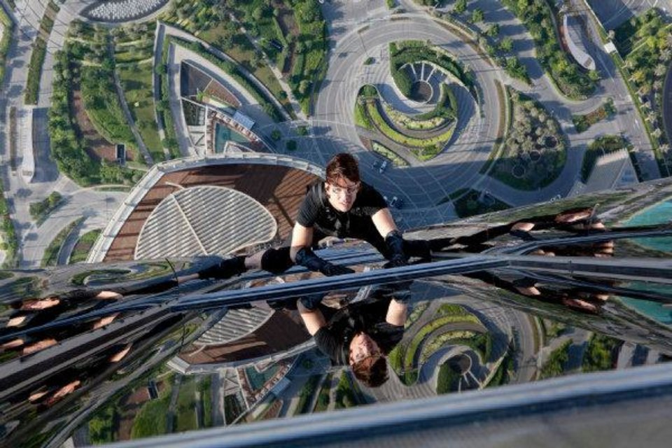 "Ethan Hunt (Tom Cruise) scales a Dubai skyscraper in �Mission: Impossible: Ghost Protocol.""  Paramount Pictures photo"